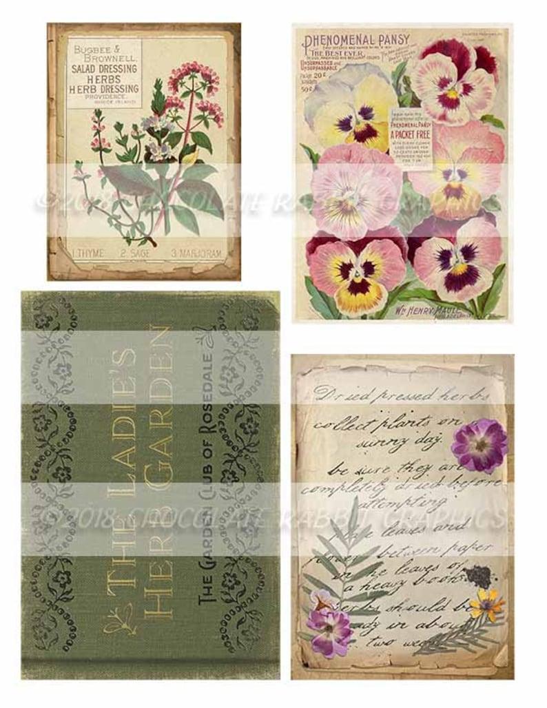 Printable Floral Scrapbook Set of 20 Herb Junk Journal Herbs and Flowers Vintage Garden Herbal Ephemera