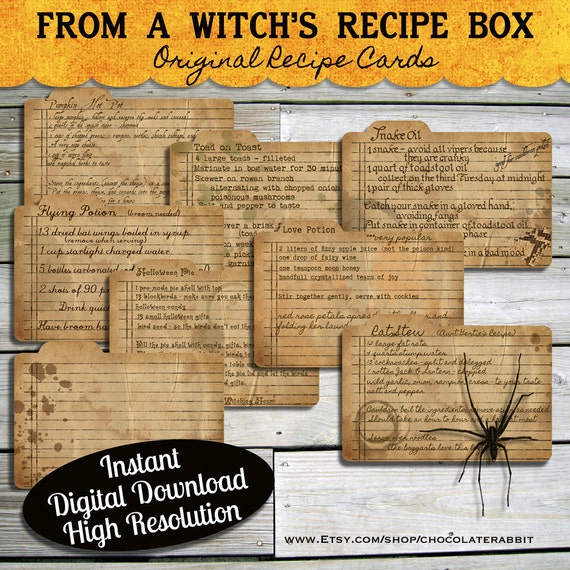 halloween witch recipe cards instant digital download