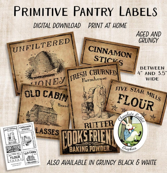 Digital Country Store Labels Primitive Pantry Labels Etsy