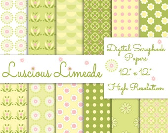 Green Yellow Pink Digital Scrapbook Paper Pack Printable Instant Download Background Papers Collage Sheet