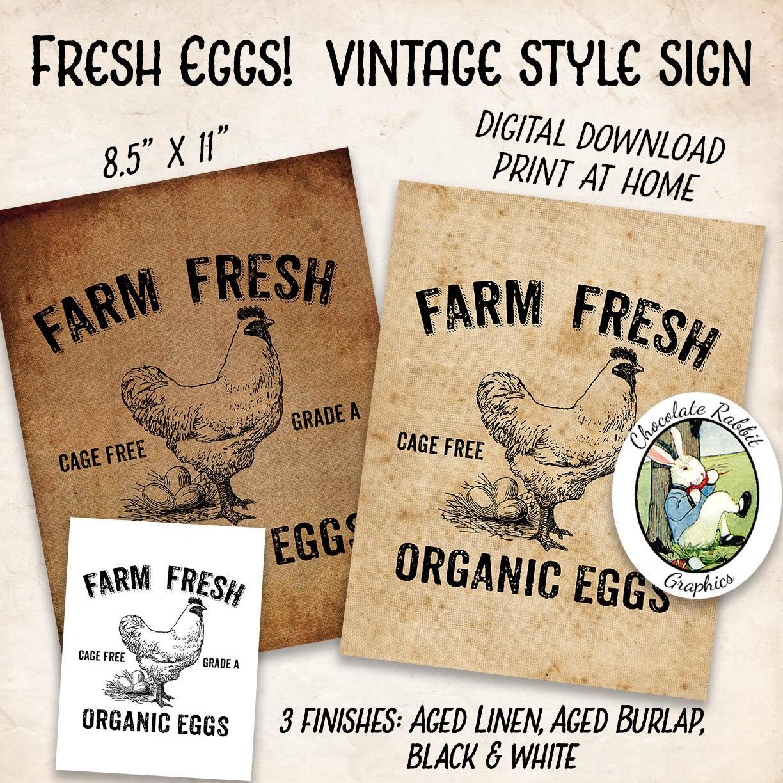 Organic Eggs Sign Vintage Style Farmhouse Digital Download | Etsy
