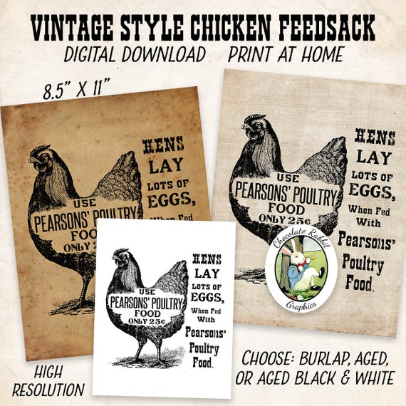 Chicken Feed Sign Vintage Feed Label Vintage Style Digital Etsy