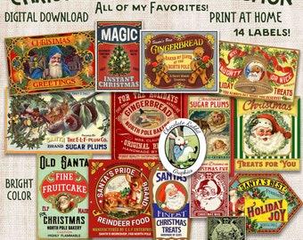 Digital Christmas Treats Label Collection, Printable Santa Journal Ephemera, Holiday Tag Clip Art
