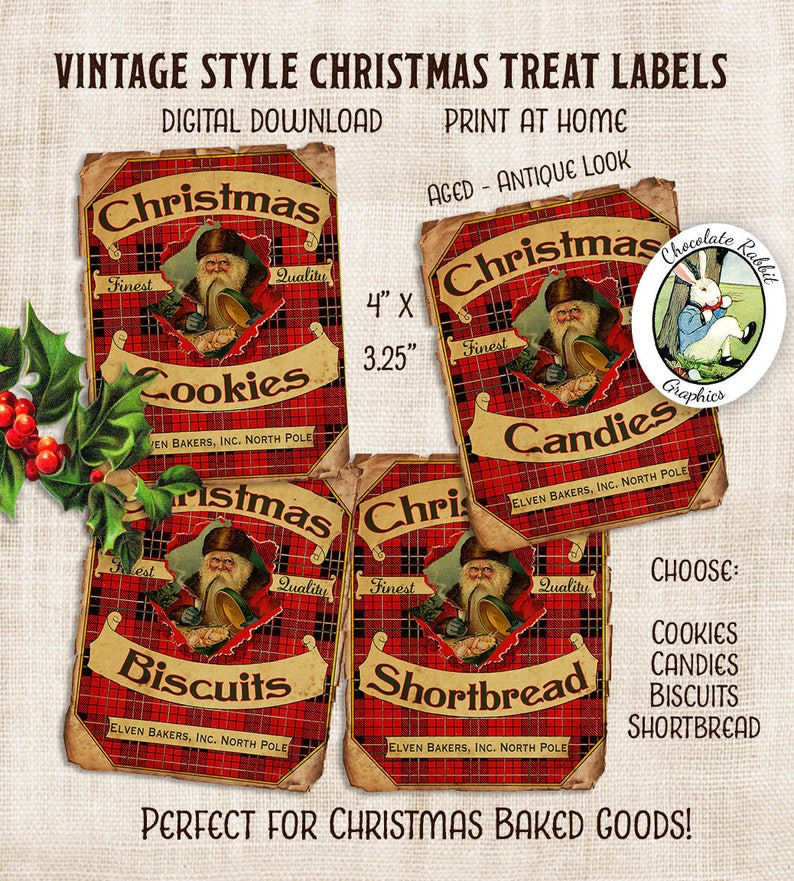 Weihnachtsbilder Antik.Candy Weihnachtsplätzchen Label Vintage Weihnachten Clip Art Tag Digitaler Download Druckbare Collage Sheet Scrapbook Santa Weihnachtsbilder