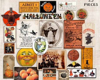 Vintage Halloween Ephemera, Printable Junk Journal Clip Art Kit, Scrapbook Witch Image Downloads