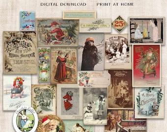 Vintage Christmas Clip Art, Printable Junk Journal Ephemera, Digital Holiday Santa Scrapbook Clipart