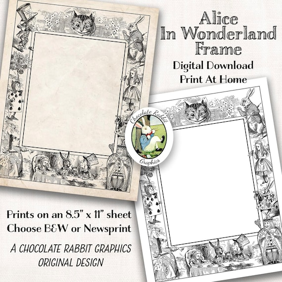 Alice In Wonderland Clip Art Grens Afdrukbare Digitale Etsy