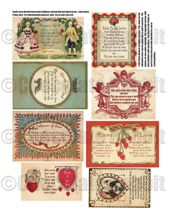 Vintage Valentine Witch Love Spell Cards Digital Download Etsy