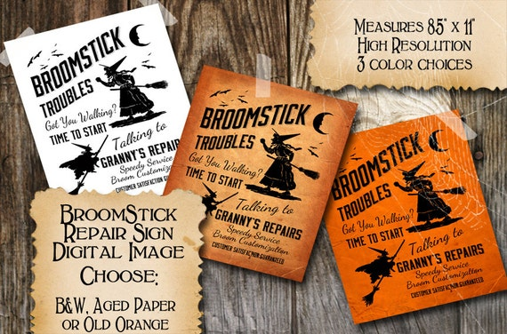 Halloween Witch Vintage Sign Broom Repair