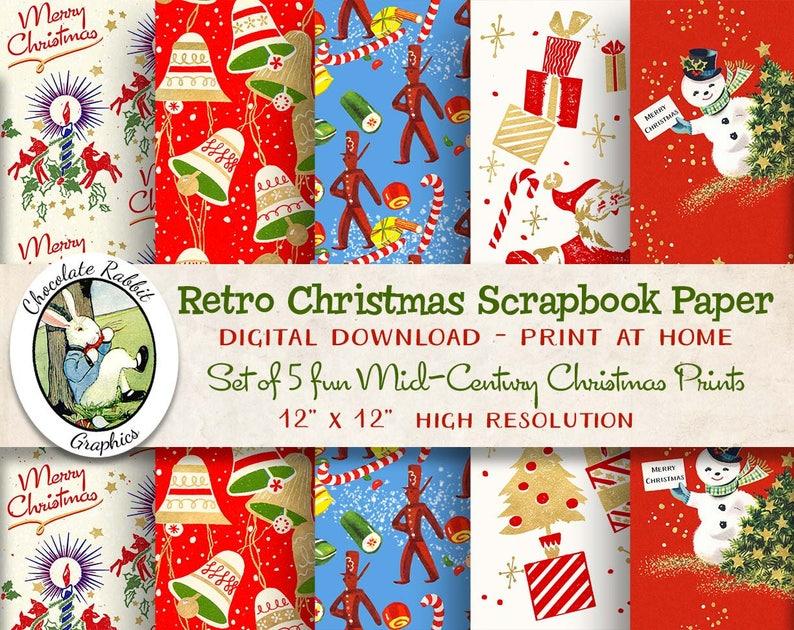 Christmas Scrapbook Paper.Retro Christmas Paper Digital Christmas Scrapbook Paper Printable Vintage Christmas Wrapping Paper Christmas Backgrounds