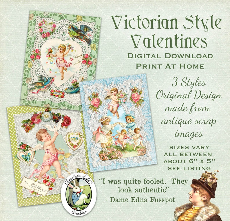 Victorian Style Valentine Cards Digital Download Printable