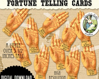 Fortune Teller Cards Halloween Witch Digital Download Printable Tag Clip Art Scrapbook Collage Sheet Supplies DIY Image Clipart