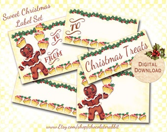 Retro Christmas Gingerbread Man Tags Digital Download 5 Sets of Printable Labels DIY Scrapbooking Clip Art Collage Sheet