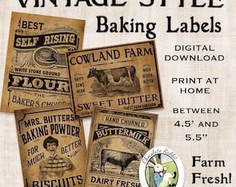 Vintage Kitchen Baking Labels Prim Primitive Digital Download Printable Tags Scrapbook Fabric Transfer Graphics Sheet Clip Art Images