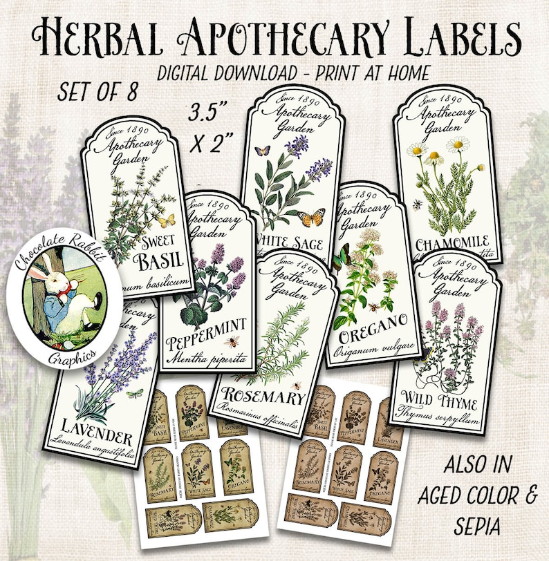 Herb Garden Labels Printable Apothecary Labels Vintage Style Etsy