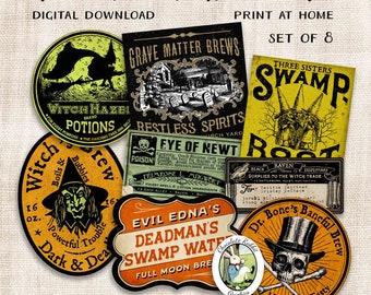 Halloween Potions & Brews Bottle Labels, Witch Junk Journal Digital Download, Vintage Spell Book Clip Art