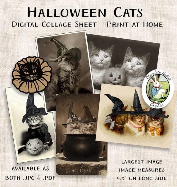 3fd1243be07c Halloween Cat Clip Art Printable Junk Journal Collage Sheet
