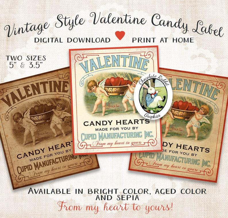 Vintage Valentine Candy Label