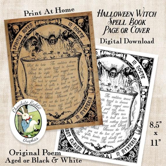 Rituel Livre Couverture Page Sorciere Halloween Telechargement Numerique Vintage Style Image Imprimable Bricolage Clip Art Scrapbooking Collage