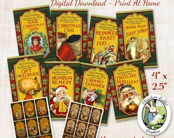 Christmas Santa Apothecary Potion Bottle Labels Tags Vintage Style Digital Download Printable Clip Art Collage Graphics Image Sheet