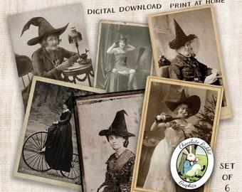 Vintage Witch Halloween Images, Digital Download Decorations, Printable Junk Journal Ephemera, Scrapbook Clip Art