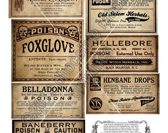 Vintage Poison Apothecary Potion Bottle Halloween Witch Labels Printable Digital Download Collage Sheet Clip Art Scrapbooking Tags