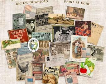 Vintage Farm Clip Art, Digital Farmhouse Junk Journal Ephemera, Printable Scrapbook Images