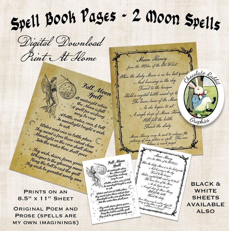 Spell Book Pages Halloween Witch Book of Shadows Digital Download Vintage Style Printable Art Image Clip Art Scrapbook Sheet Graphic Print