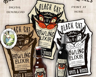 Halloween Black Cat Potion Bottle Label, Witch Ephemera, Party Decor, Decorations