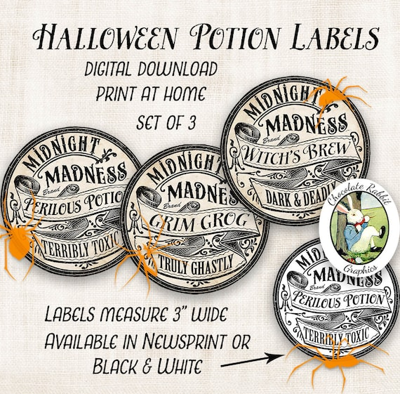 Witch Potion Bottle Labels Digital Halloween Clipart Etsy