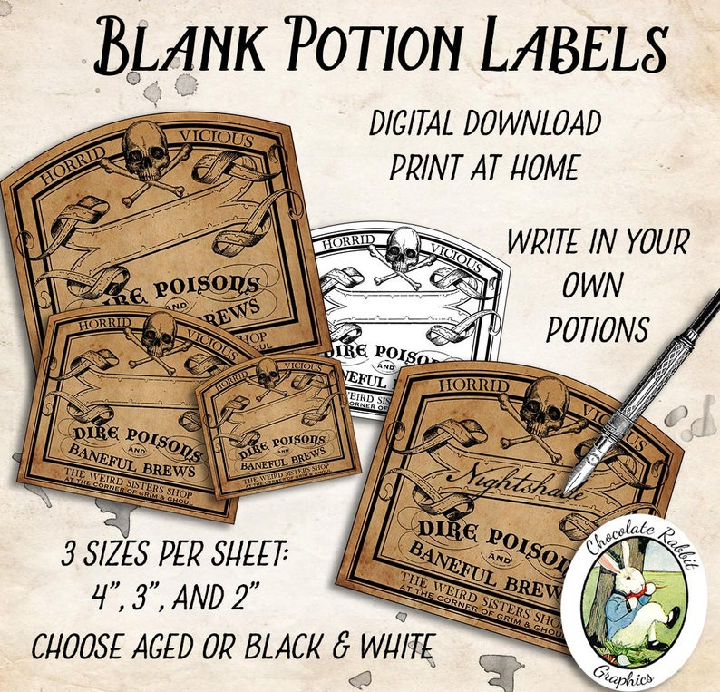 picture relating to Printable Potion Labels identified as Blank Potion Bottle Labels, Electronic Halloween Tags, Printable Witch Apothecary Labels