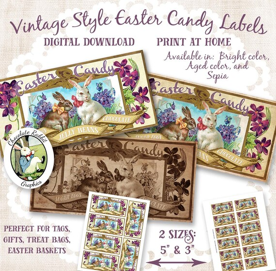 Vintage easter candy labels printable easter tags digital negle Images