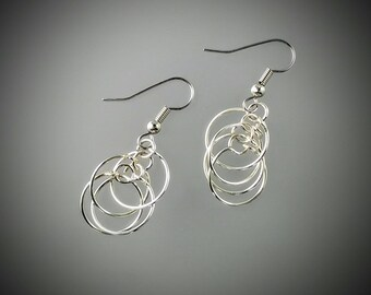 Sterling Silver Multi Hoop Dangle Drop Earrings