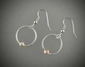 Sterling silver earrings, hoop earrings, copper earrings, drop earrings, dangle earrings, copper bead.