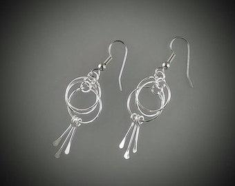 Hoop Dangle Earrings in Sterling Silver
