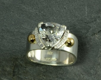 Contemporary 8mm Trillion  White Topaz Solitaire Statement Ring In Sterling Silver &14k Gold