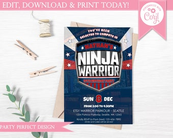 American Ninja Warrior Inspired Birthday Invitation- Instant Download