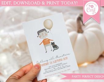 Frankenstein Balloon Birthday Invitation - Instant Download