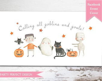 Halloween party Facebook Event Photo - Instant Download
