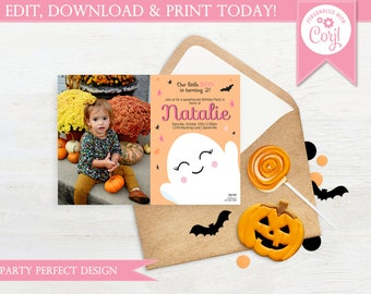 Little Boo Pink Photo Halloween Birthday Invitation - Instant Download