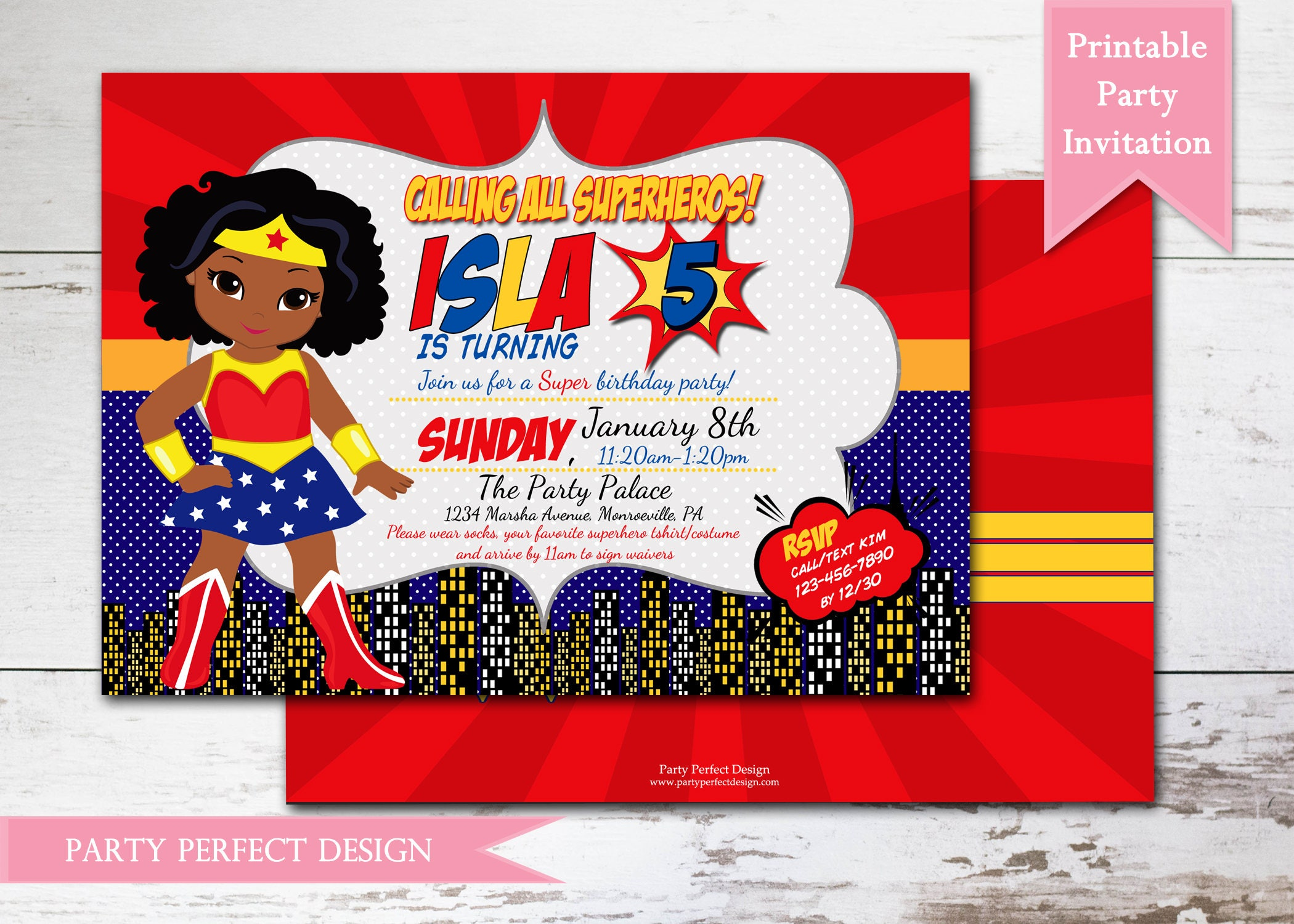 Wonder Woman Birthday Party Invitation Print Your Own | Etsy