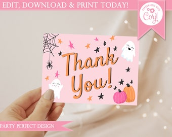 Hey Boo Pink Halloween Thank You Card - Instant Download