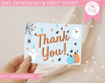 Hey Boo Blue Halloween Thank You Card - Instant Download