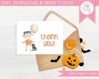 Frankenstein Balloon Thank You Card - Instant Download