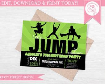 Green and Black JUMP Trampoline Park Birthday Invitation - Instant Download