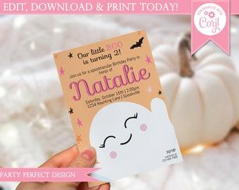 Little Boo Pink Halloween Birthday Invitation - Instant Download