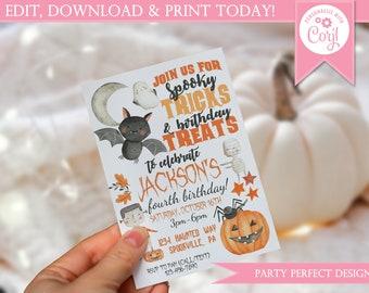 Halloween Birthday Invitation - Instant Download