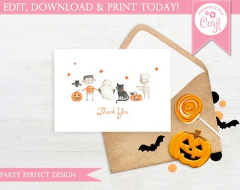 Simple Halloween Thank You Card - Instant Download