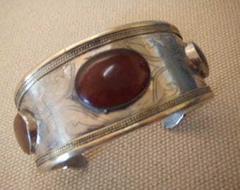 Tribal  bracelet silver cuff --with stones-- old Kuchi jewelry ---  ( FREE SHIPPING SALE)