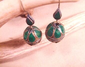 Huge Tribal  brass hook earrings -- old Kuchi jewelry -- heavy patina